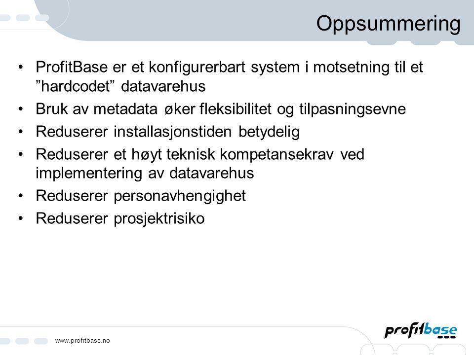 Oppsummering ProfitBase er et konfigurerbart system i motsetning til et hardcodet datavarehus.