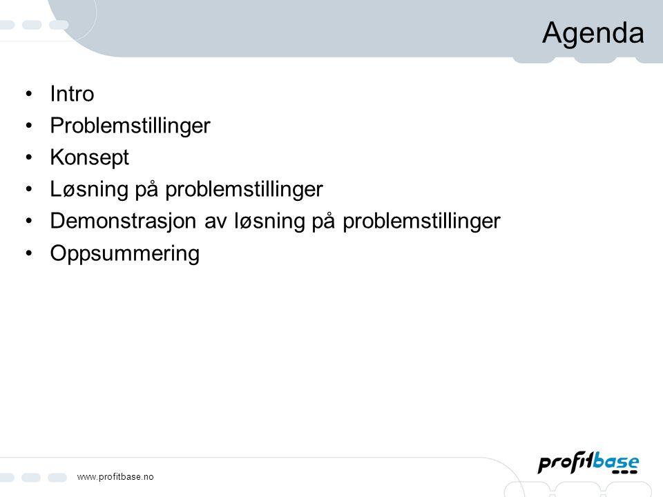 Agenda Intro Problemstillinger Konsept Løsning på problemstillinger