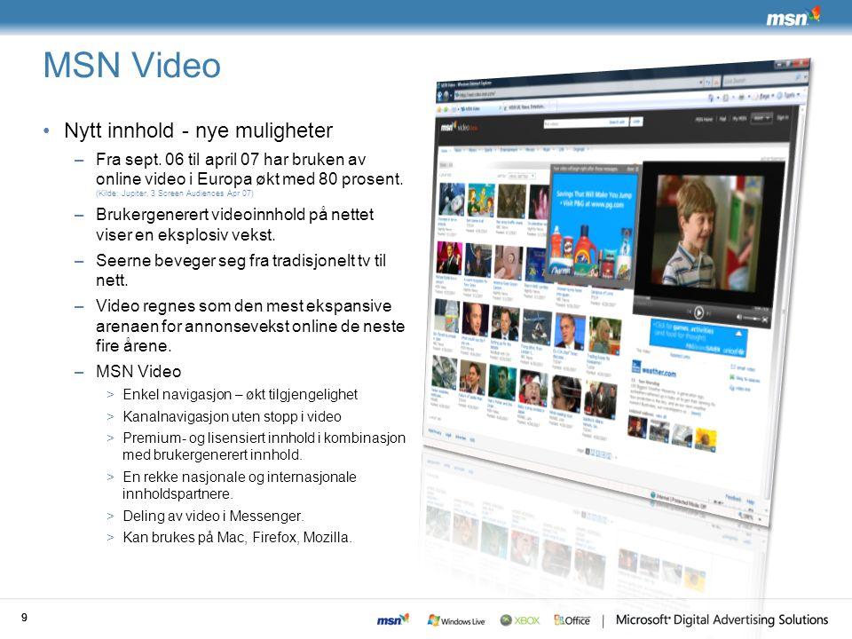 MSN Video Nytt innhold - nye muligheter