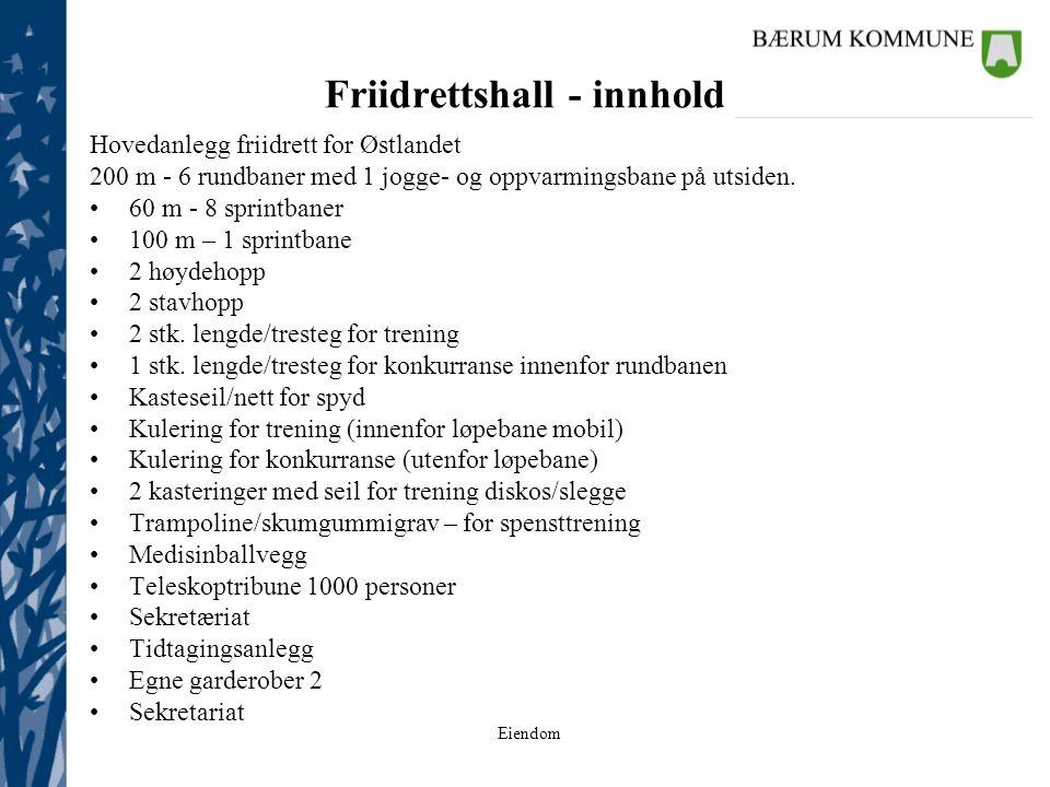 Friidrettshall - innhold