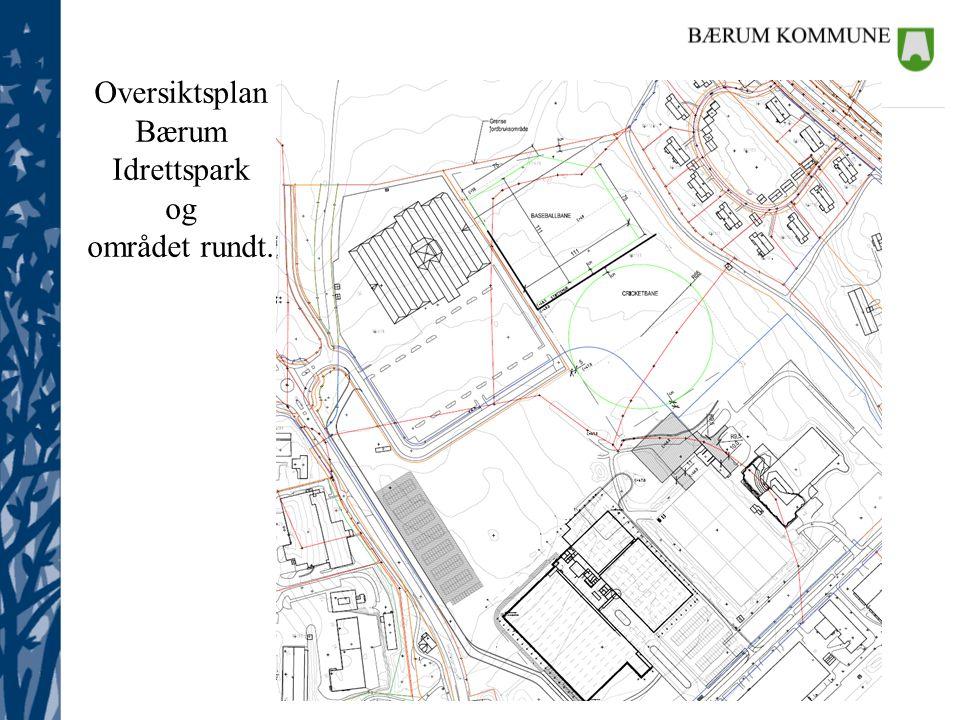 Oversiktsplan Bærum Idrettspark og området rundt.