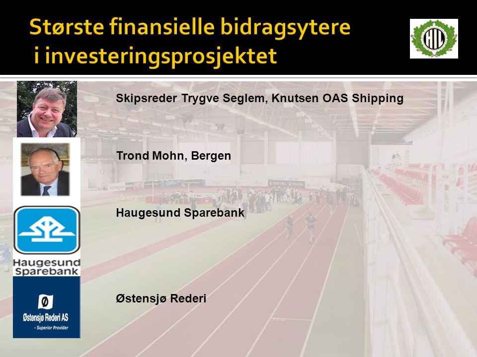 Største finansielle bidragsytere i investeringsprosjektet