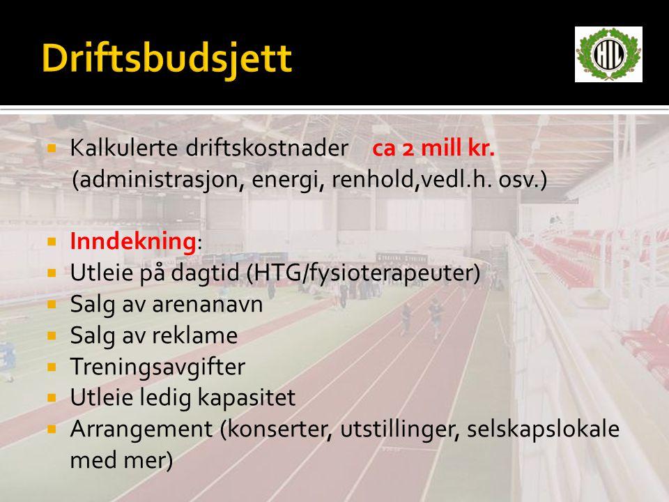 Driftsbudsjett Kalkulerte driftskostnader ca 2 mill kr.