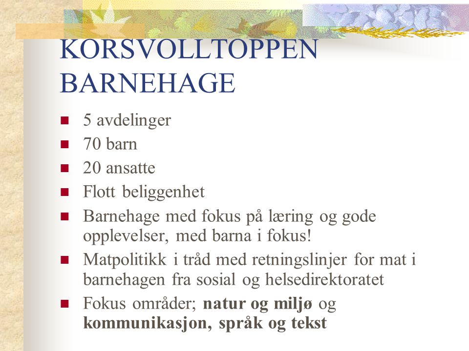KORSVOLLTOPPEN BARNEHAGE