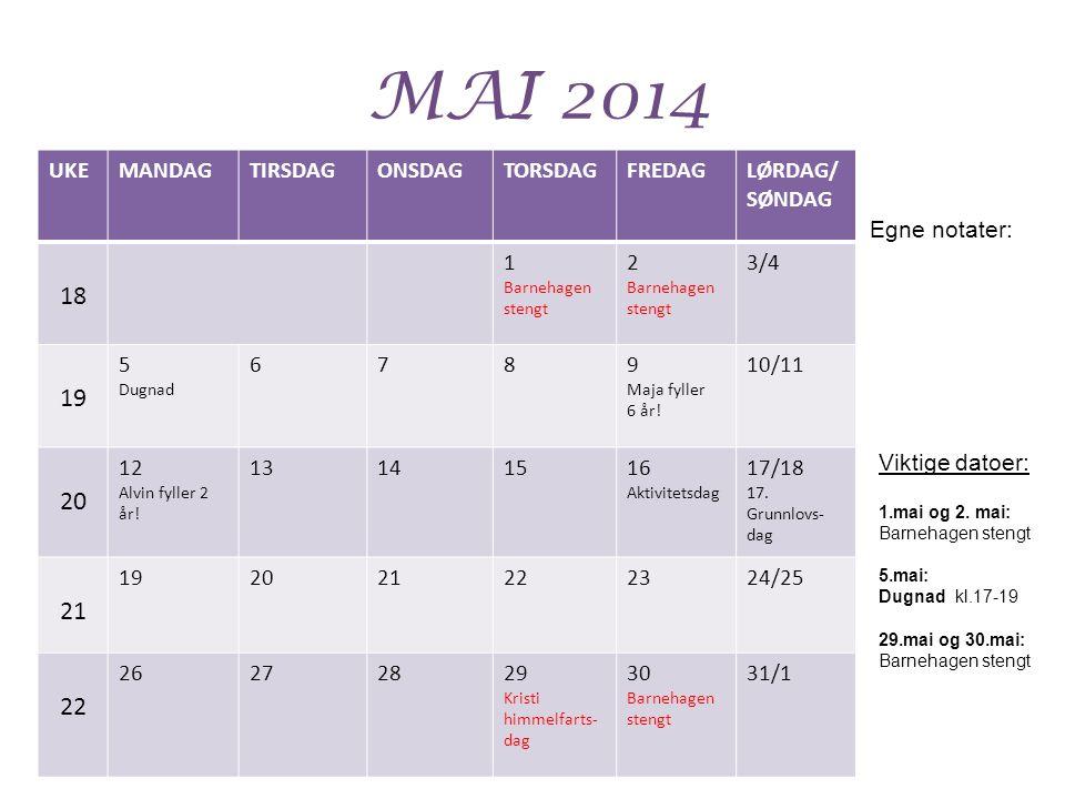 MAI 2014 18 19 20 21 UKE MANDAG TIRSDAG ONSDAG TORSDAG FREDAG LØRDAG/