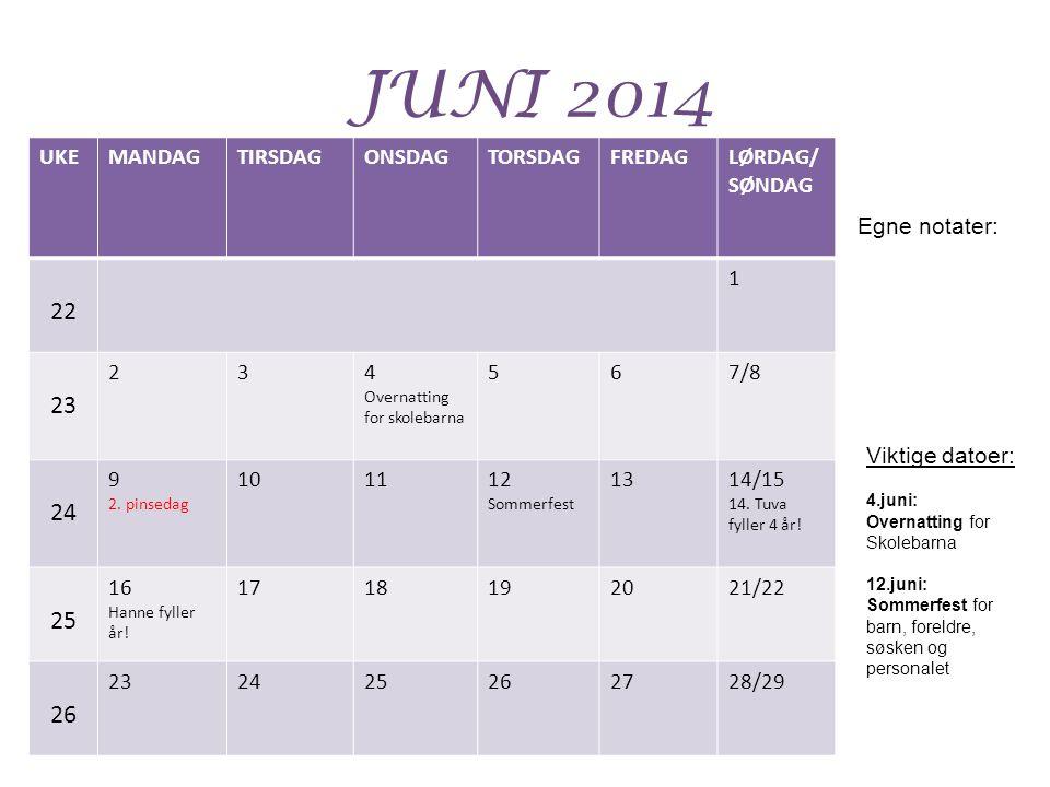 JUNI 2014 22 23 24 25 26 UKE MANDAG TIRSDAG ONSDAG TORSDAG FREDAG