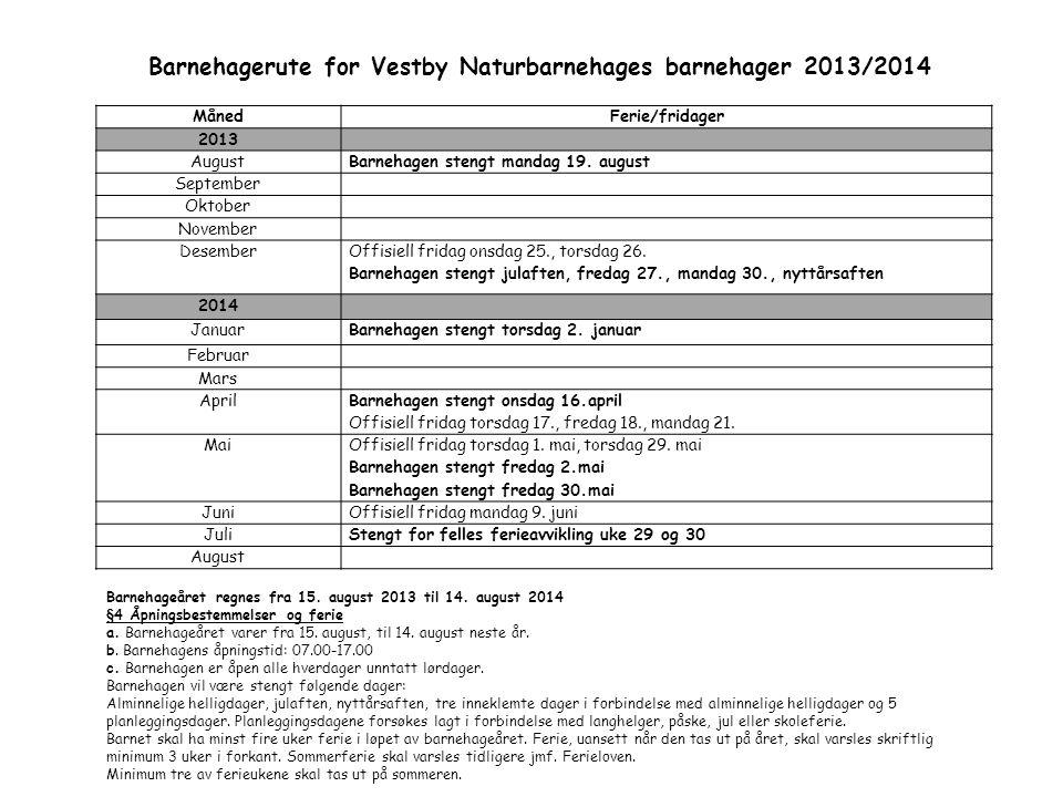 Barnehagerute for Vestby Naturbarnehages barnehager 2013/2014