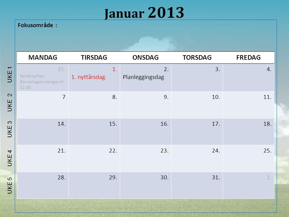 Januar 2013 MANDAG TIRSDAG ONSDAG TORSDAG FREDAG Fokusområde : 31. 1.