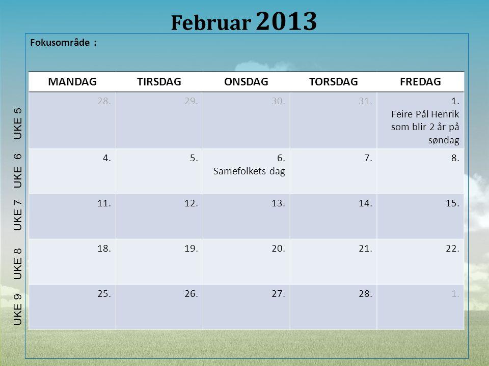 Februar 2013 MANDAG TIRSDAG ONSDAG TORSDAG FREDAG Fokusområde : 28.
