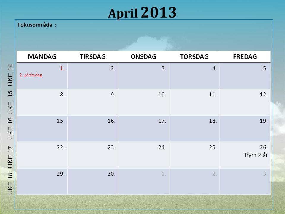 April 2013 MANDAG TIRSDAG ONSDAG TORSDAG FREDAG Fokusområde : 1. 2. 3.