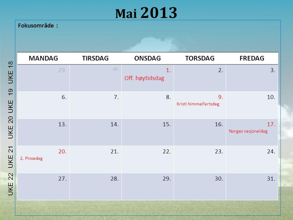 Mai 2013 MANDAG TIRSDAG ONSDAG TORSDAG FREDAG Fokusområde : 29. 1.