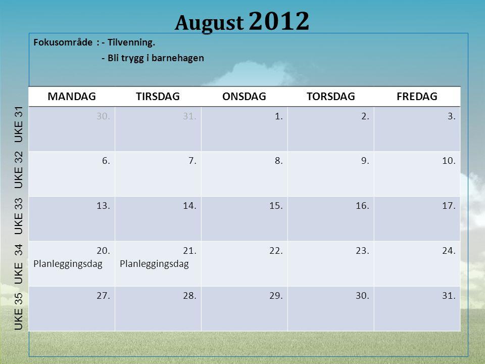 August 2012 MANDAG TIRSDAG ONSDAG TORSDAG FREDAG