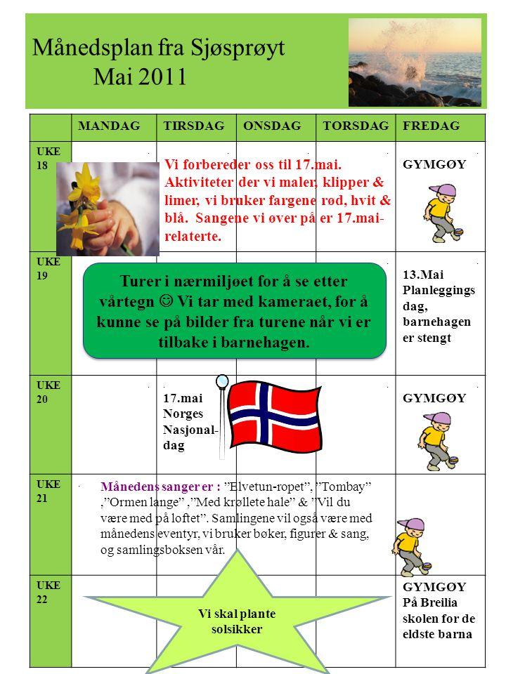 Månedsplan fra Sjøsprøyt Mai 2011