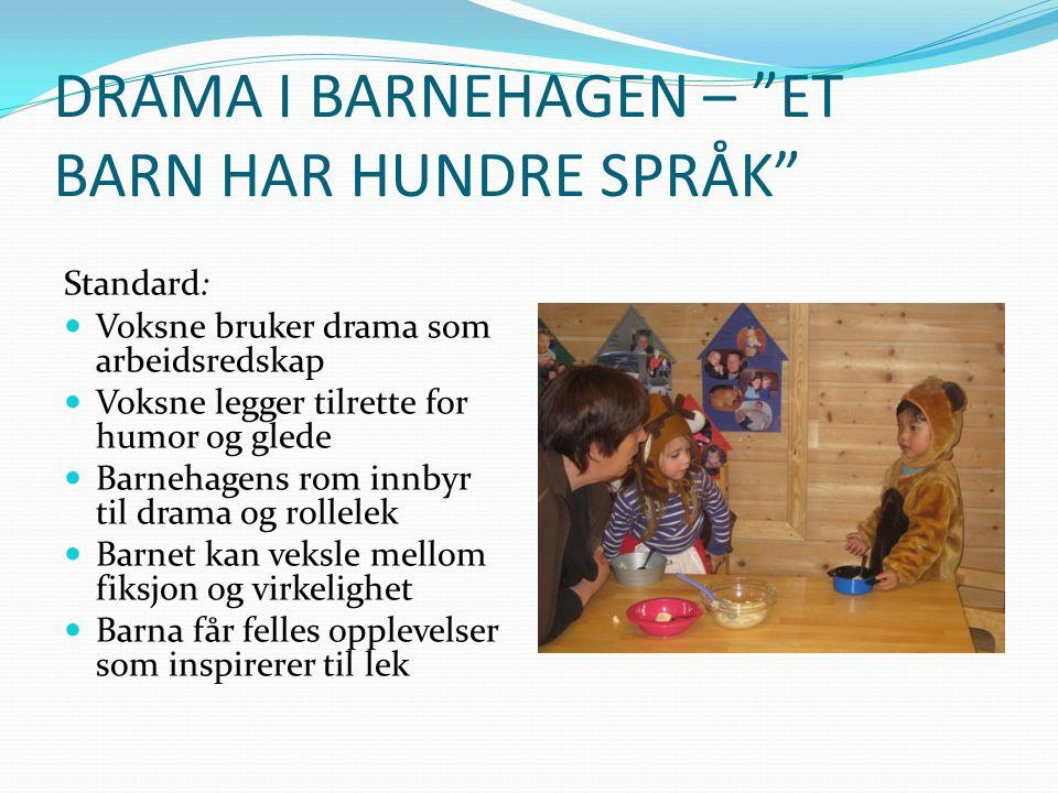 DRAMA I BARNEHAGEN – ET BARN HAR HUNDRE SPRÅK