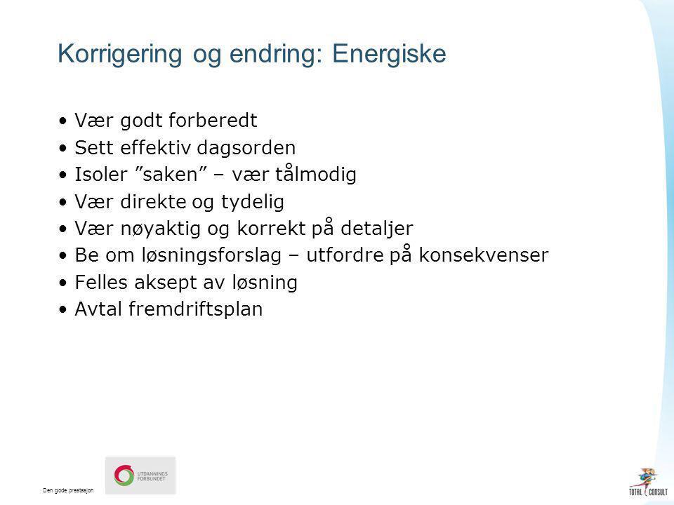 Korrigering og endring: Energiske