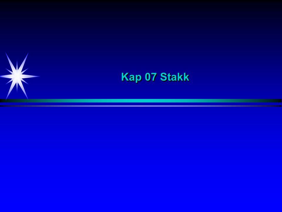 Kap 07 Stakk I dette kapitlet skal vi se på datastrukturen stakk.