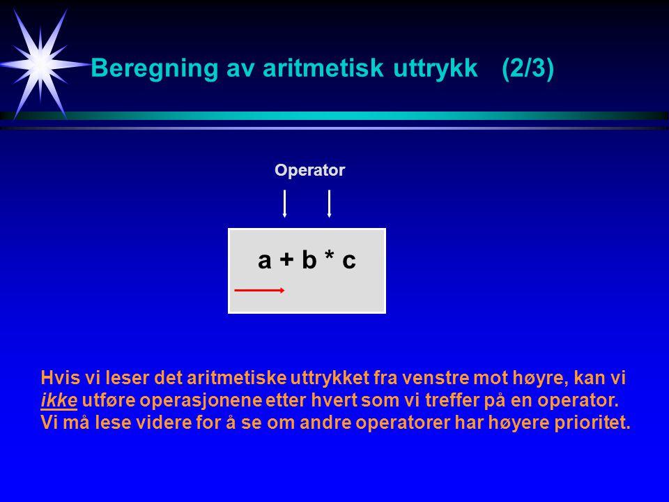 Beregning av aritmetisk uttrykk (2/3)