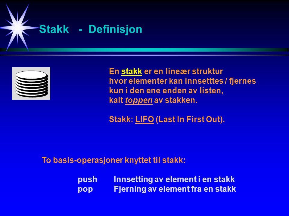 Stakk - Definisjon En stakk er en lineær struktur