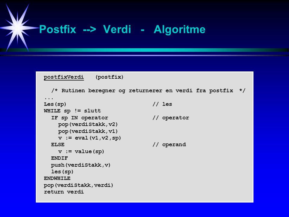 Postfix --> Verdi - Algoritme