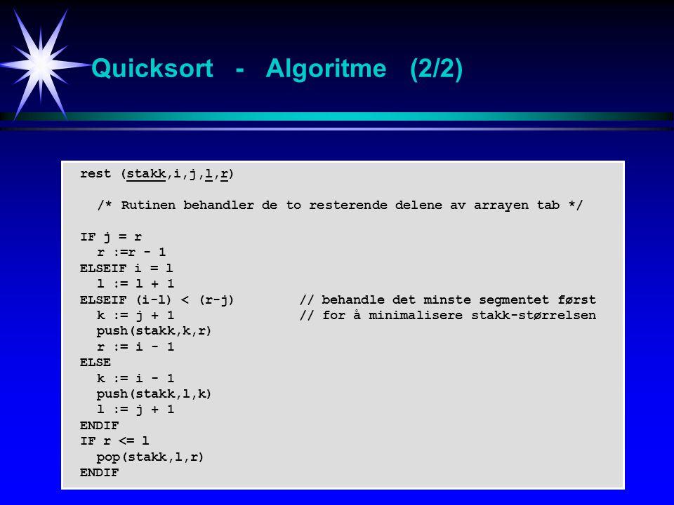 Quicksort - Algoritme (2/2)
