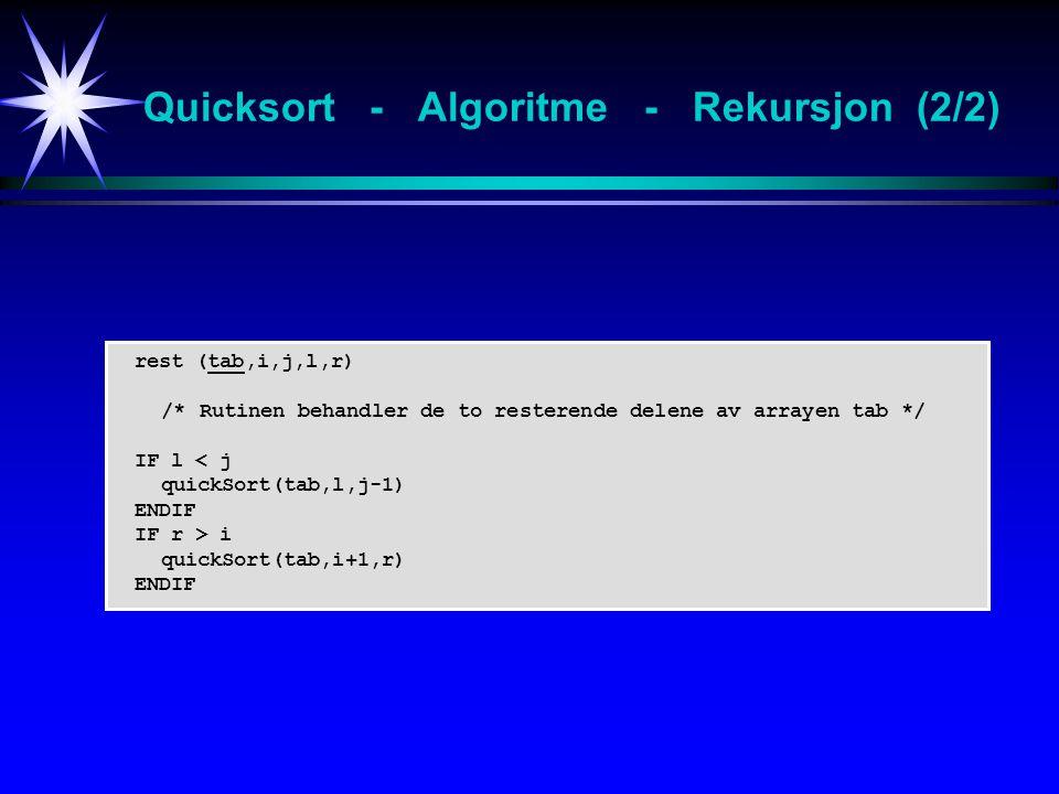 Quicksort - Algoritme - Rekursjon (2/2)