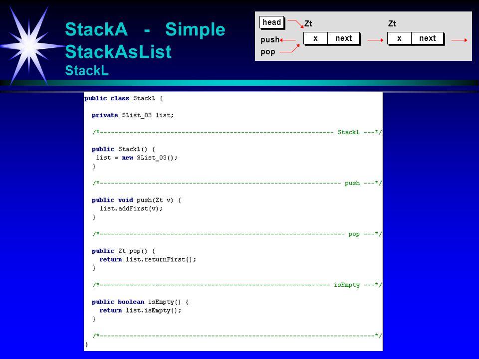 StackA - Simple StackAsList StackL