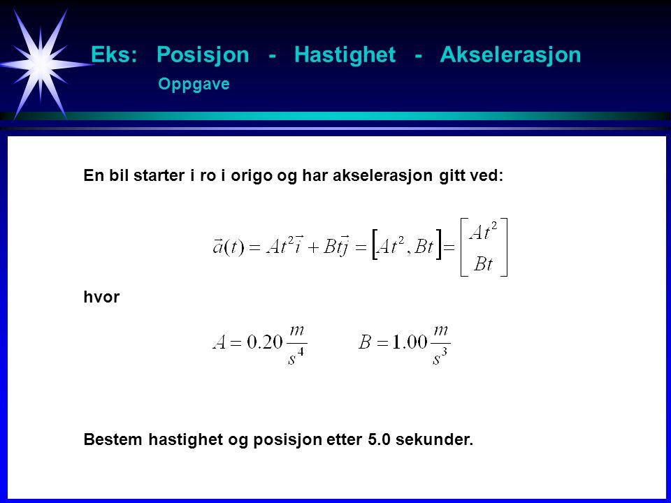 Eks: Posisjon - Hastighet - Akselerasjon Oppgave