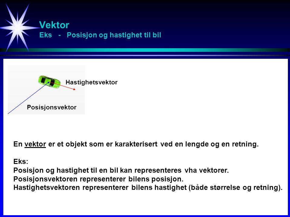 Vektor Eks - Posisjon og hastighet til bil