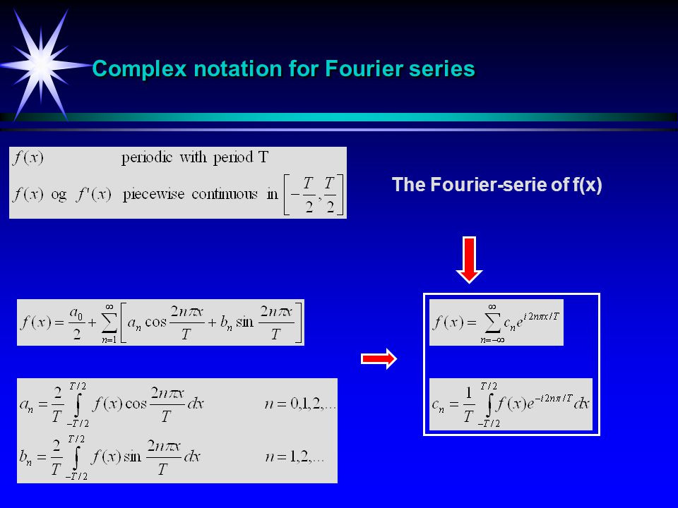 Complex notation for Fourier series