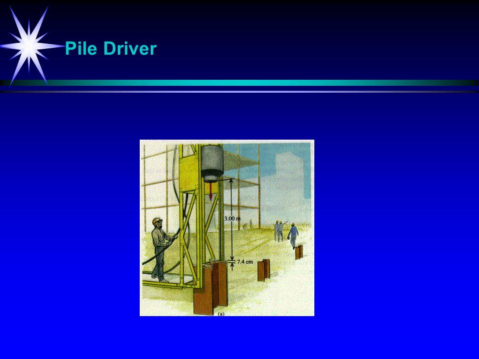 Pile Driver Bolting av stolper ned i jorden.