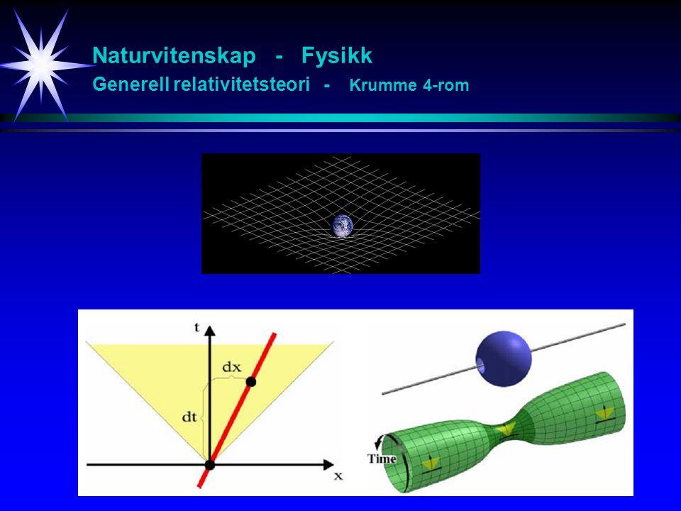 Naturvitenskap - Fysikk Generell relativitetsteori - Krumme 4-rom