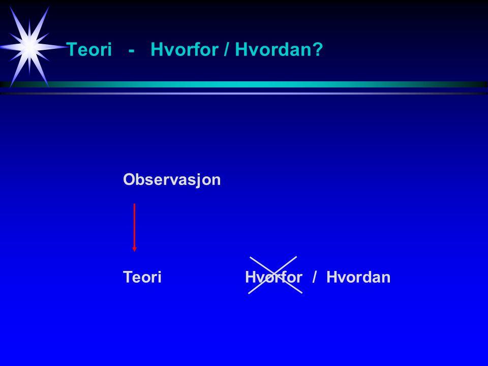 Teori - Hvorfor / Hvordan