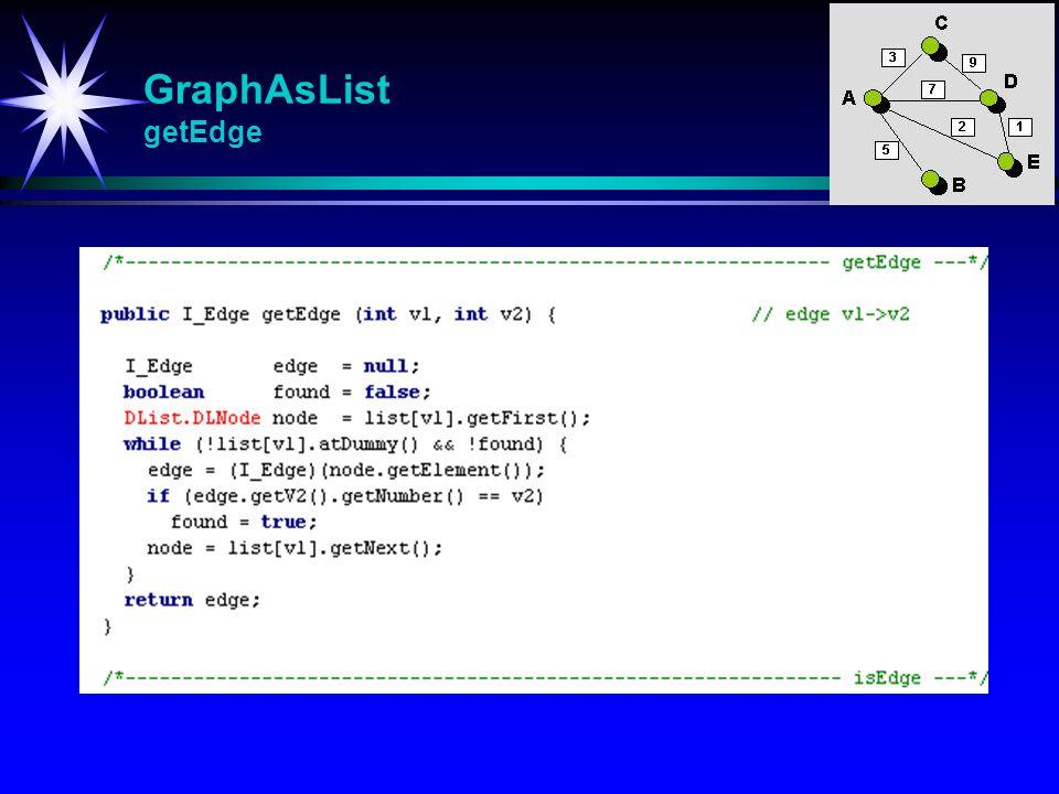 GraphAsList getEdge getEdge (int v1, int v2) Returnerer kanten som går fra v1 til v2.