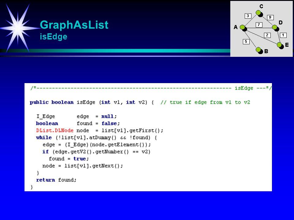 GraphAsList isEdge isEdge (int v1, int v2) Returnerer true hvis det går en kant fra v1 til v2.