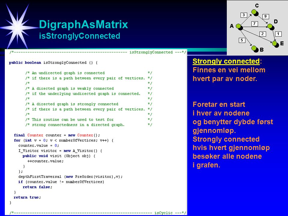 DigraphAsMatrix isStronglyConnected