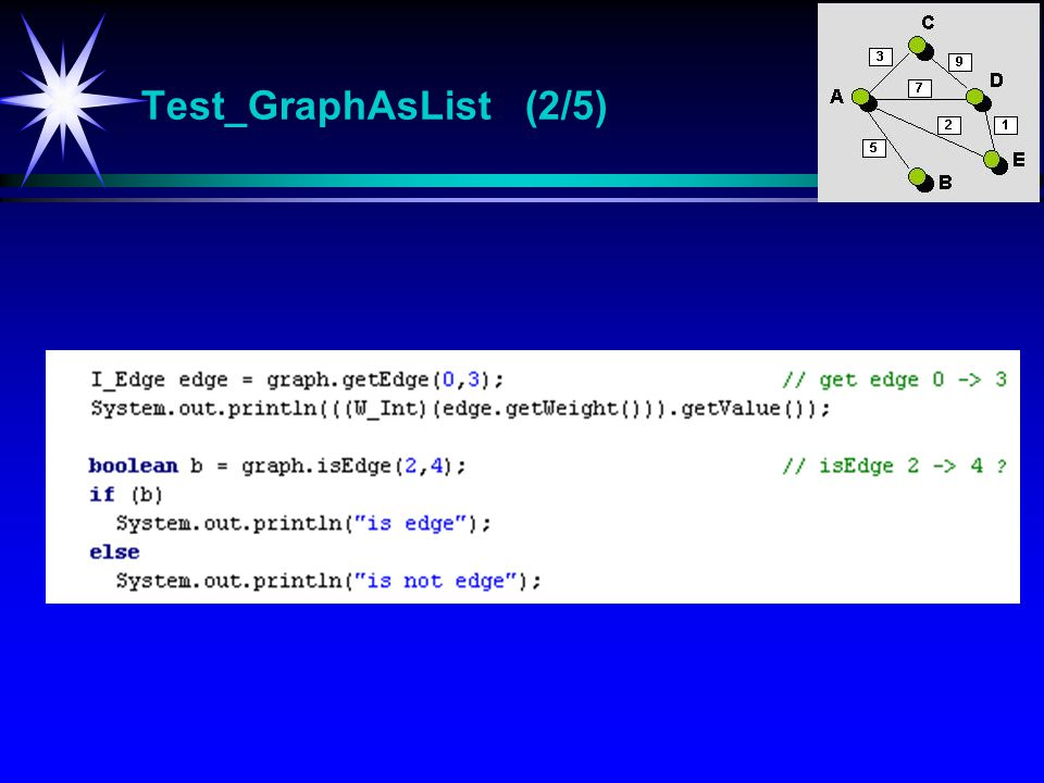 Test_GraphAsList (2/5) Test_GraphAsList Test-program for klassen GraphAsList.
