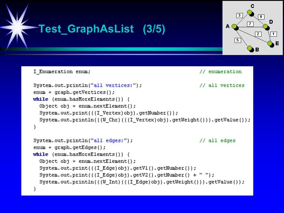 Test_GraphAsList (3/5) Test_GraphAsList Test-program for klassen GraphAsList.