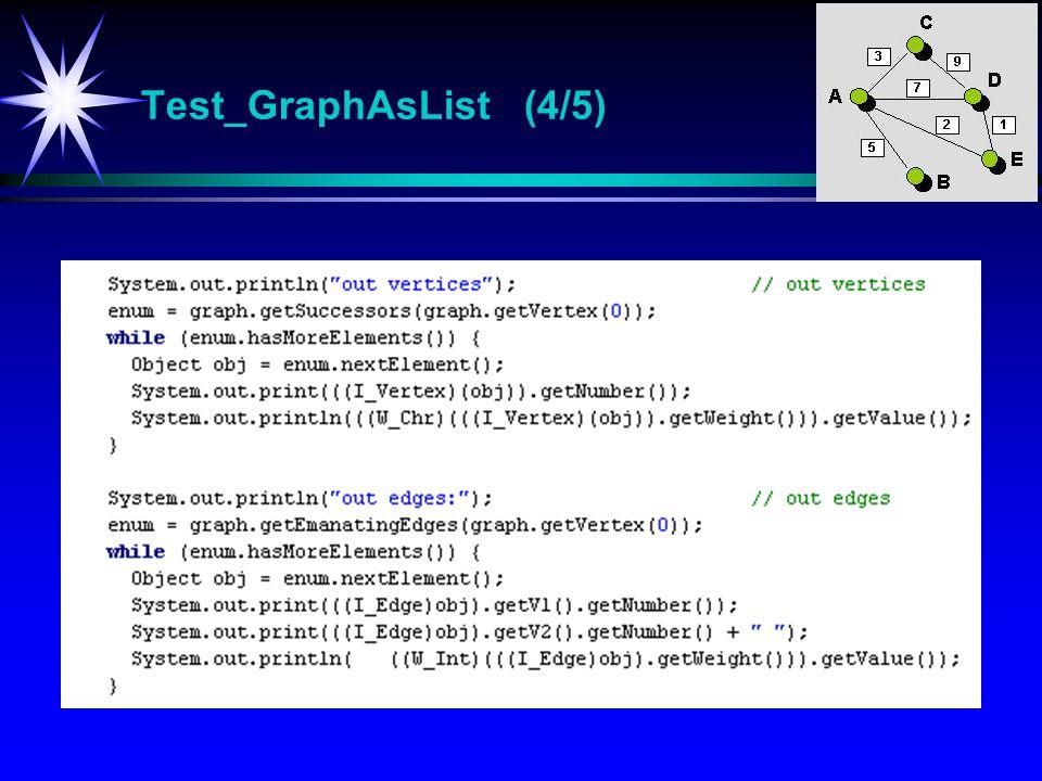 Test_GraphAsList (4/5) Test_GraphAsList Test-program for klassen GraphAsList.