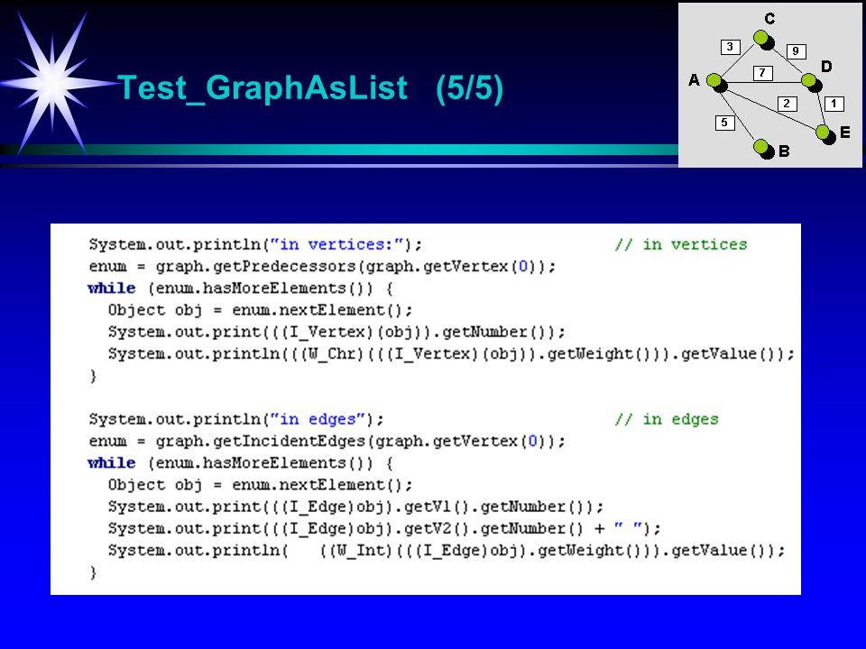 Test_GraphAsList (5/5) Test_GraphAsList Test-program for klassen GraphAsList.