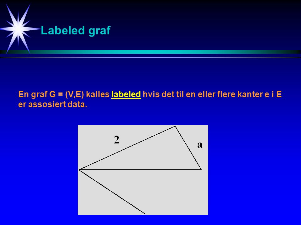 Labeled graf En graf G = (V,E) kalles labeled hvis det til en eller flere kanter e i E.