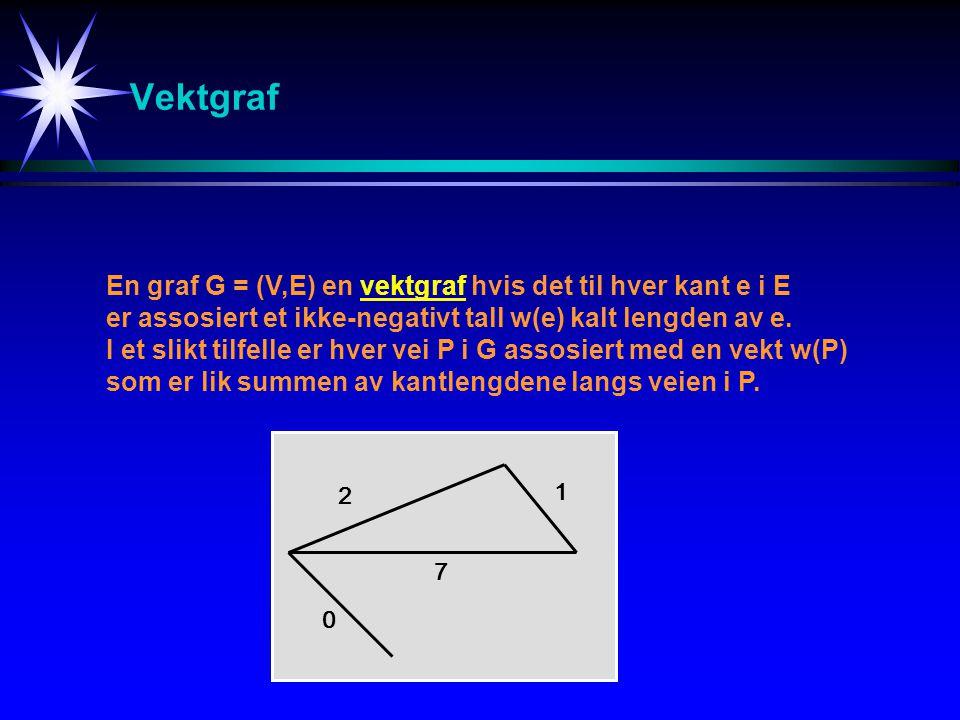Vektgraf En graf G = (V,E) en vektgraf hvis det til hver kant e i E