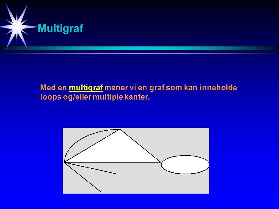 Multigraf Med en multigraf mener vi en graf som kan inneholde