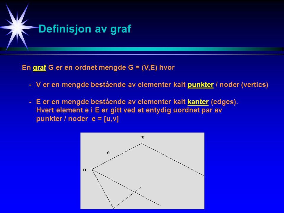 Definisjon av graf En graf G er en ordnet mengde G = (V,E) hvor