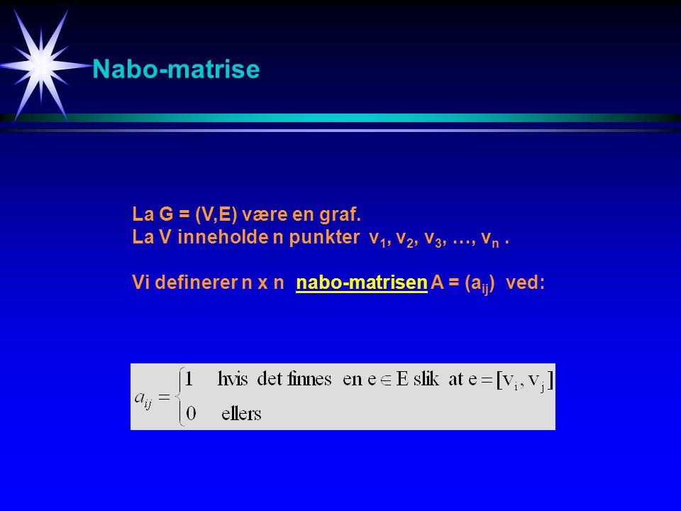 Nabo-matrise La G = (V,E) være en graf.