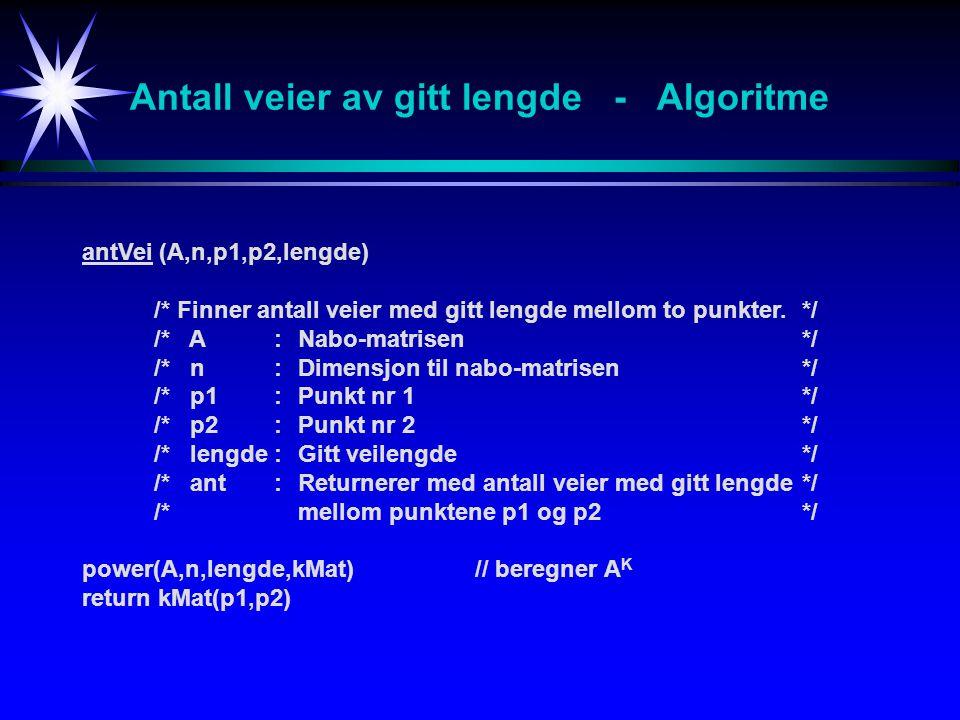 Antall veier av gitt lengde - Algoritme