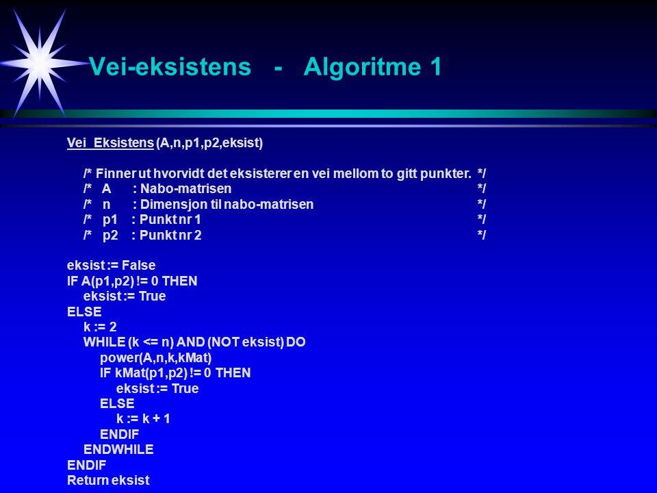 Vei-eksistens - Algoritme 1