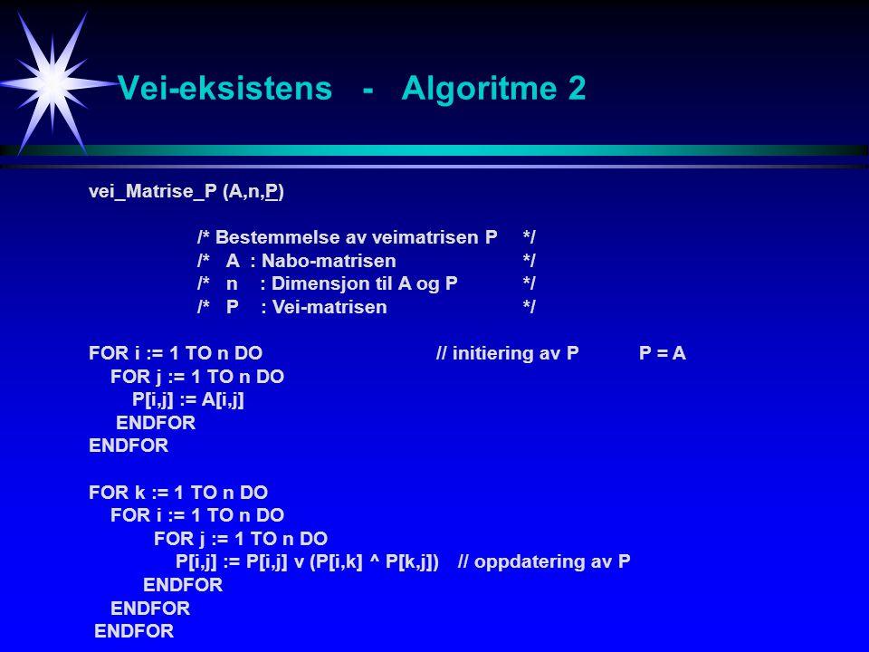 Vei-eksistens - Algoritme 2