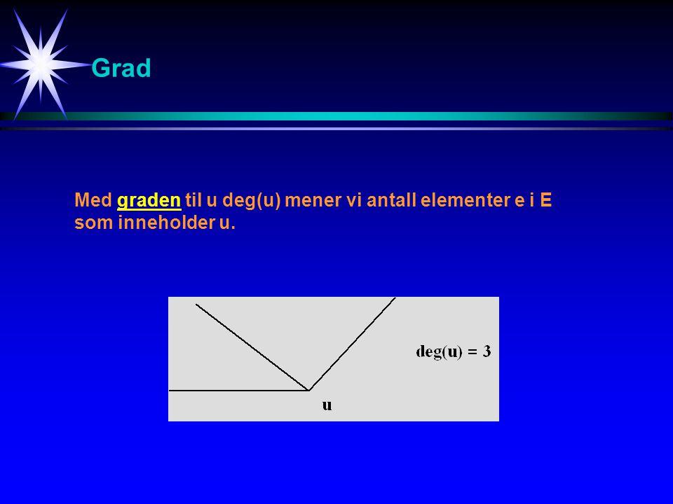 Grad Med graden til u deg(u) mener vi antall elementer e i E