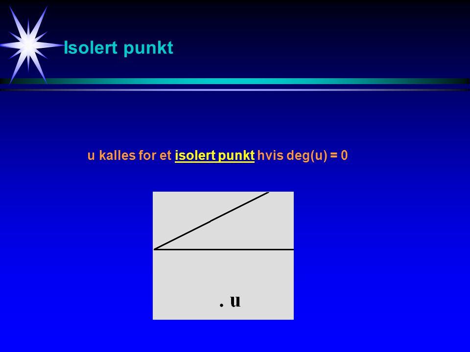 Isolert punkt u kalles for et isolert punkt hvis deg(u) = 0