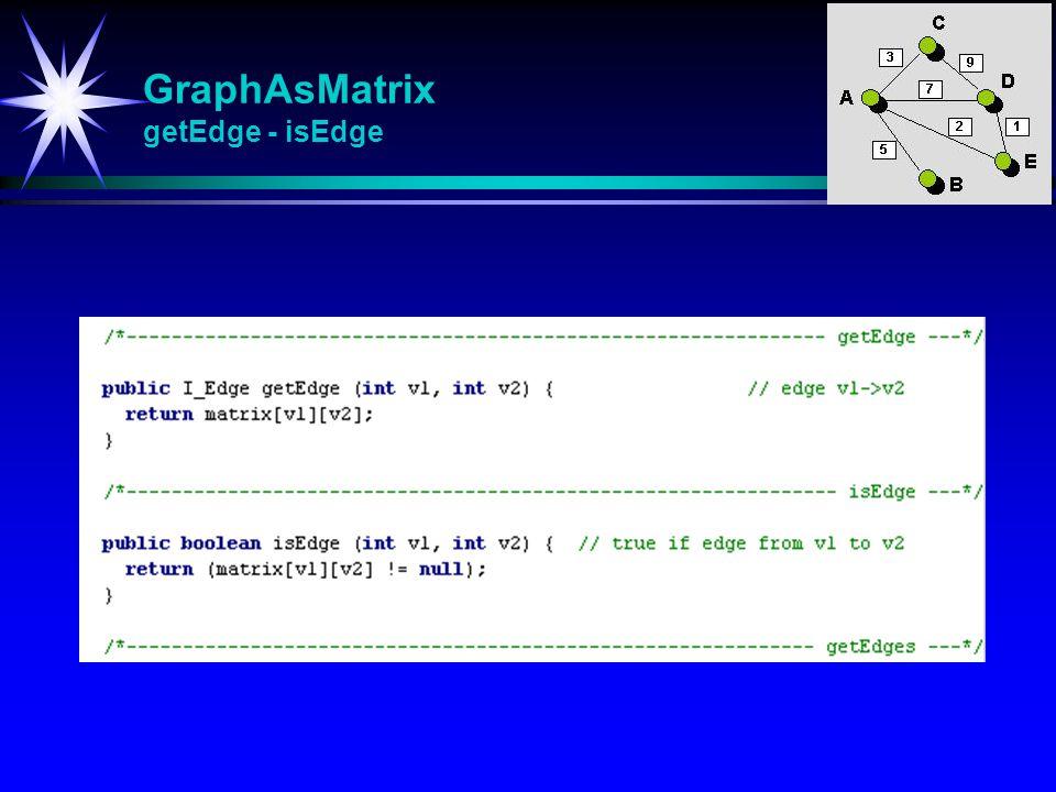 GraphAsMatrix getEdge - isEdge